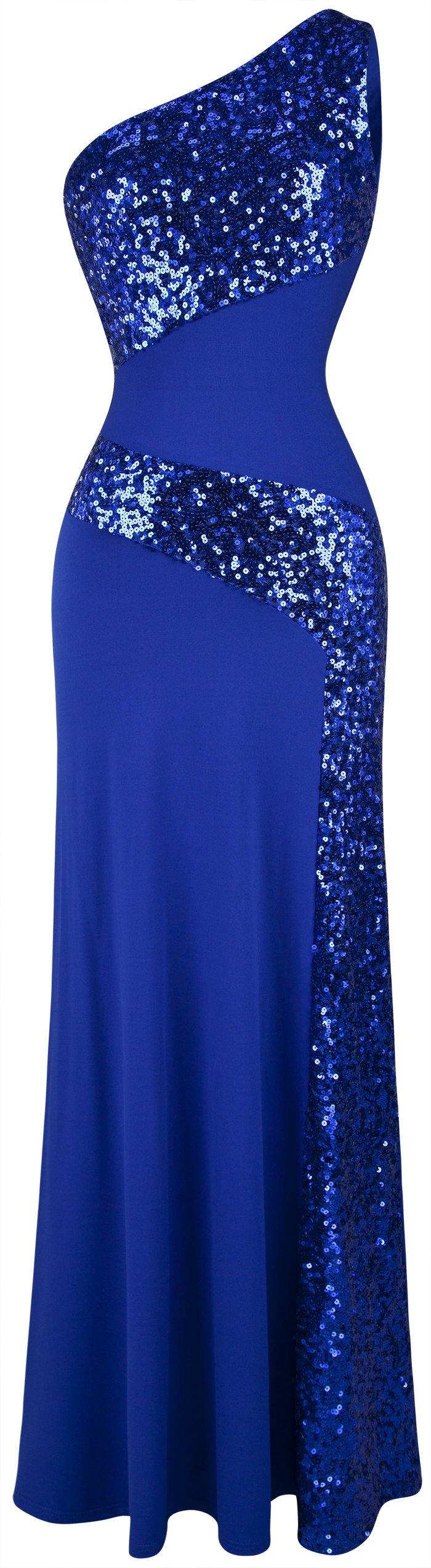 Angel-fashions Women's One Shoulder Sleeveless Sequin Maxi Prom Dresses Medium Blue