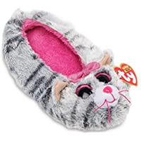 TY Beanie Boos Kids Girls Plush Kiki Cat Non Skid Slipper Socks Grey/Pink Large