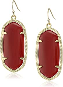 "Kendra Scott ""Signature"" Elle Gold plated Maroon Jade Drop Earrings"