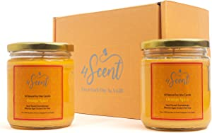 4SCENT Soy Wax Scented Candles 2 x 13 oz | Effective Against Smoke and Pet Odors | Aromatherapy Large Candles for Home | Gift Set for Women | 100% Natural Soy Wax and Cotton Wicks | Orange Spice