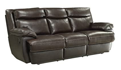 Coaster MacPherson Casual Brown Leather Reclining Sofa