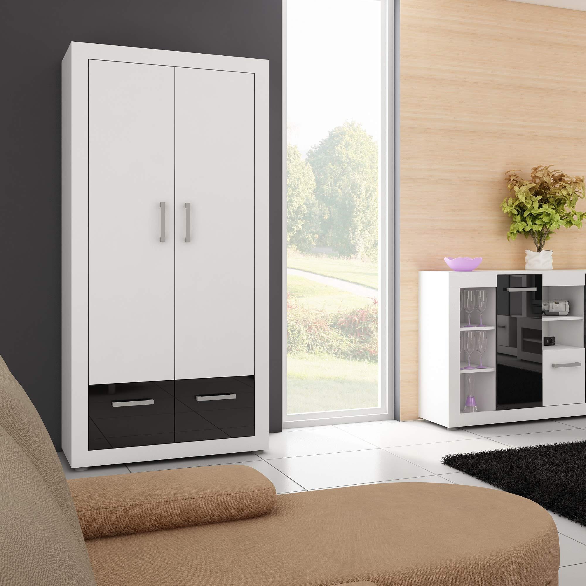 Furniture.Agency Viki Wardrobe Armoire, Multiple Finishes 2 Doors 2 Drawers White/White/Black Gloss White/White/Black Gloss