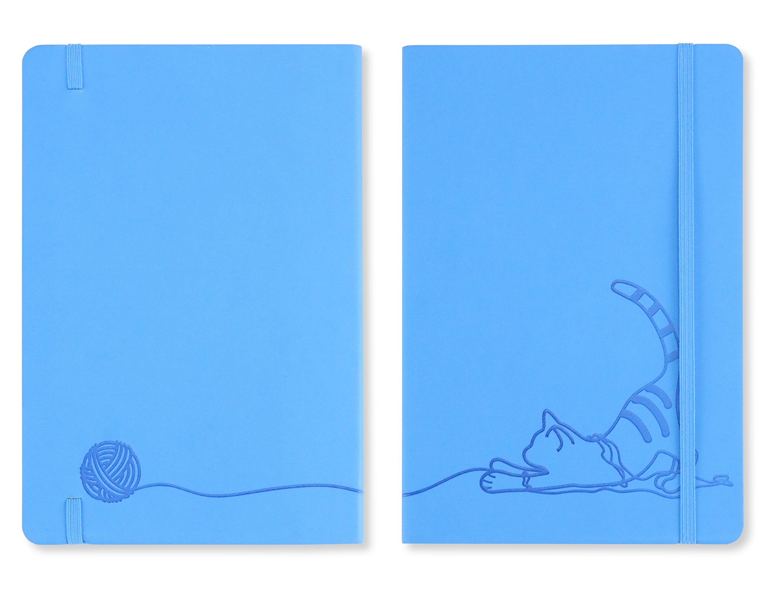 Miliko The Blue Cat A5 Soft Touch Cover Banded Dot Grid Notebook/Journal-100 Sheets(200 Pages),100gsm Inner page,8.27''x5.67''(Dot Grid)