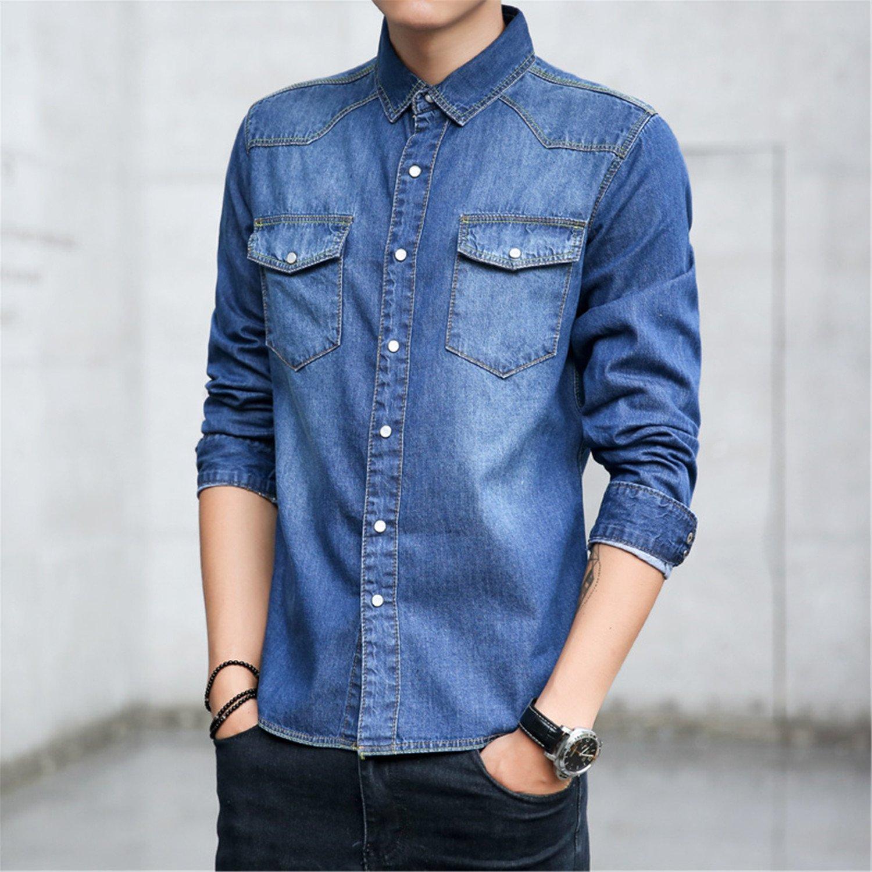 NeeKer Jacket Men Shirt Male Long Sleeve Shirts Casual Slim Fit Black Mens Dress Shirts Man Denim Shirts 3XL Light Blue XXXL