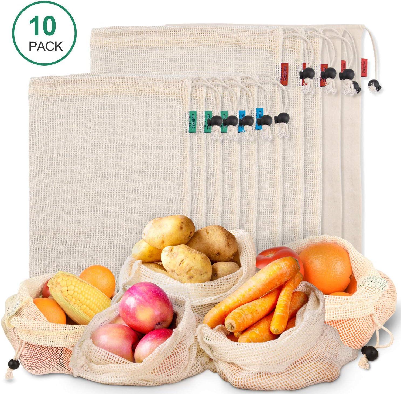 Bolsas Reutilizables Hechas con Malla de Algodón Orgánico Natural, Bolsa de Compras Lavable Son Producto Seguro y Ecológico para Guardar Frutas, Verduras y hasta Juguetes, 10 Unidades