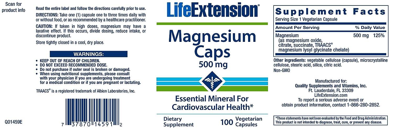 Life Extension Magnesium Caps - 500mg x100Vcaps: Amazon.es: Salud y cuidado personal