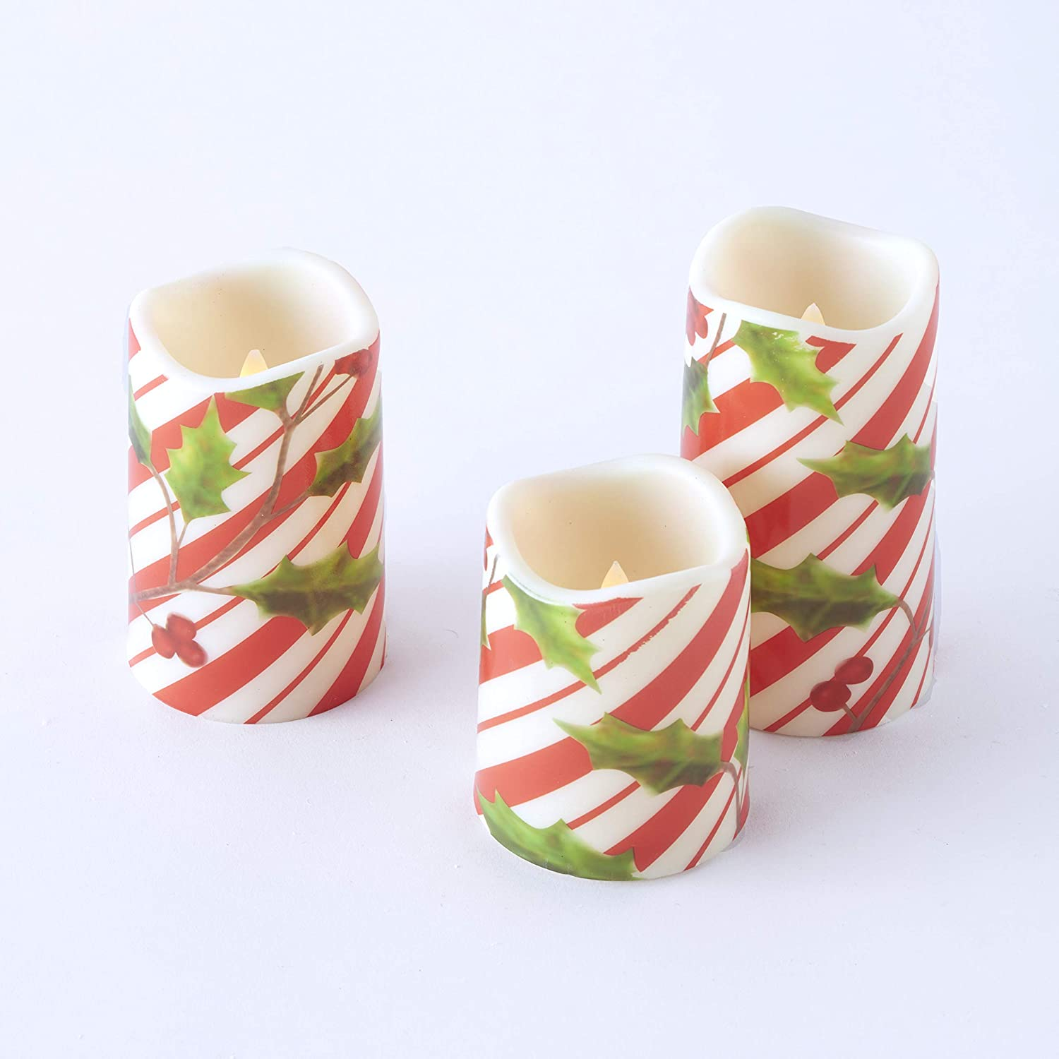 Set of 3 The Lakeside Collection LED Candy Cane Motif Christmas Candles with Faux Floral Holly Leaves