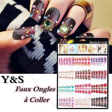 Y & S 12 formas de uñas postizas para pegar + 10pcs pegamento ...