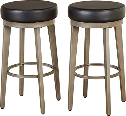Angelo HOME Linden Modern Upholstered Armless Swivel Counter Stool, 30 , Set of 2, Black