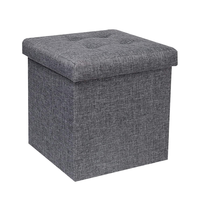 "B FSOBEIIALEO Storage Ottoman Cube, Toy Chest Folding Footrest Stool Seat, 12.6""X12.6""X12.6"" (Linen Grey)"