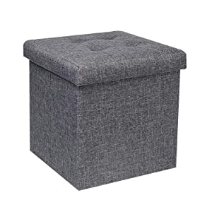 "B FSOBEIIALEO Storage Ottoman Cube, Toy Chest Folding Footrest Stool Seat, 12.6""X12.6""X12.6"" (Linen Grey)"
