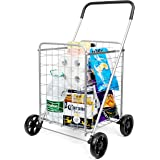 supenice Grocery Utility Shopping Cart - Deluxe Utility Cart with Oversized Basket and Tool Free Installation Light…