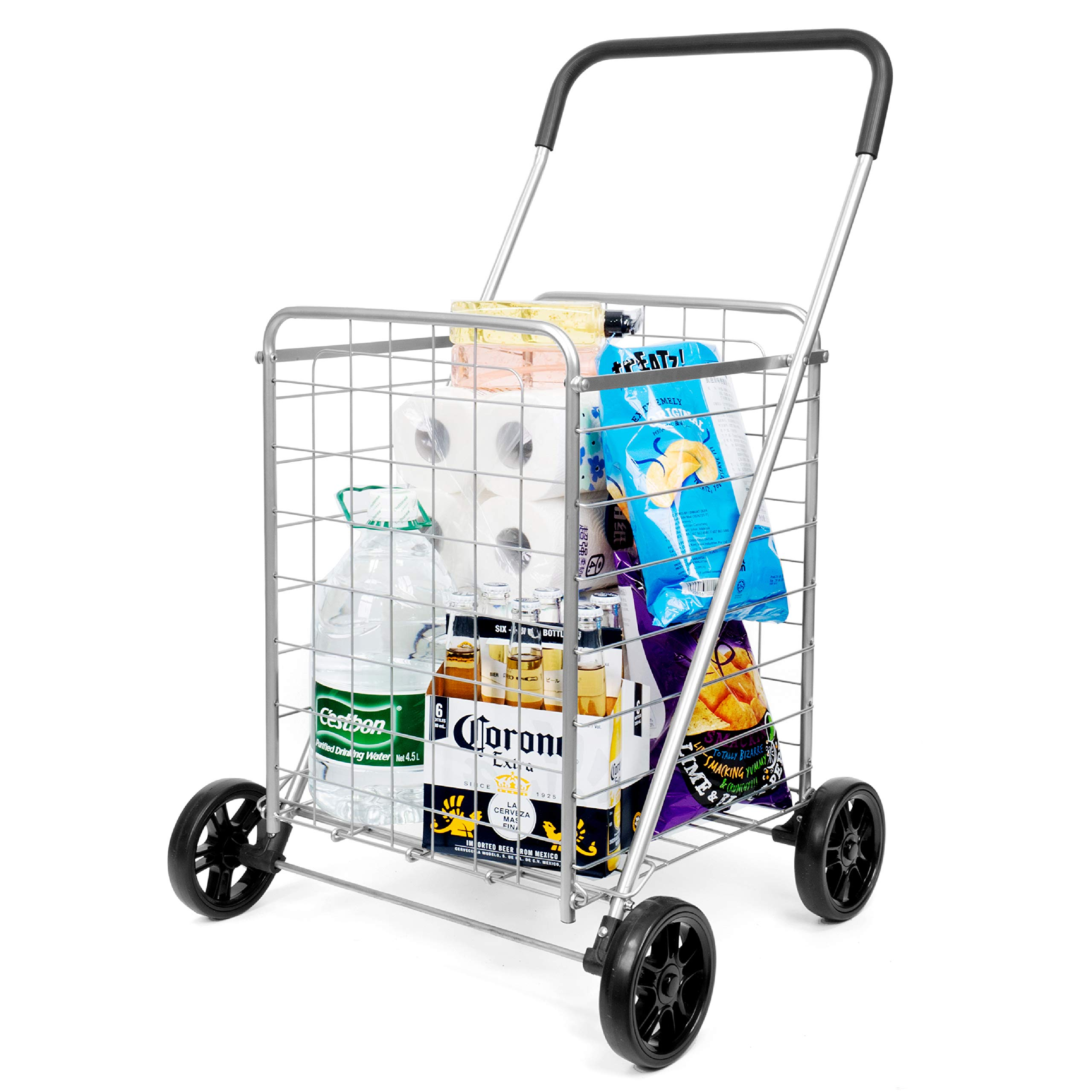 Durable Folding Grocery Shopping Cart - Supenice (SN7511) Oversized Front & Rear Wheels, Light Weight, Medium Size, 66 lbs Capacity, Multipurpose Trolley Dolly Utility Cart Suit for Laundry, Shopping