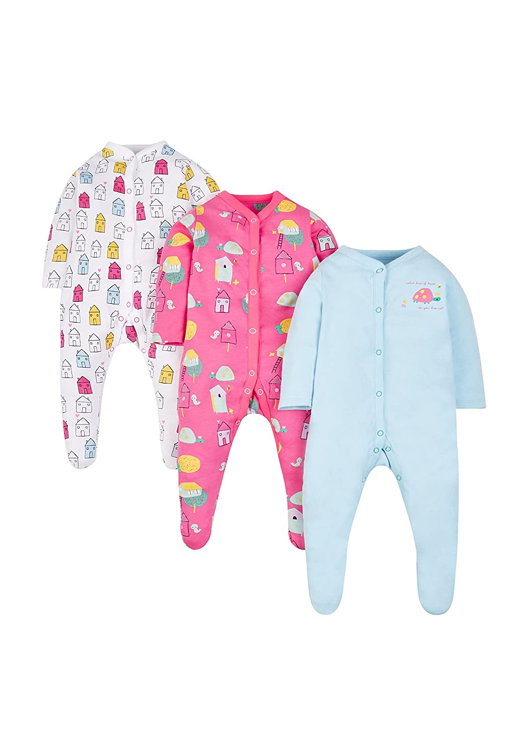 Mothercare Baby Girls' 3 Pack Sleepsuit 3 pack-PD355