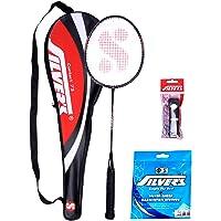 Silver's Contact Badminton 1 Racquet plus 1 PVC Grip, 0.80mm String (Multicolor)
