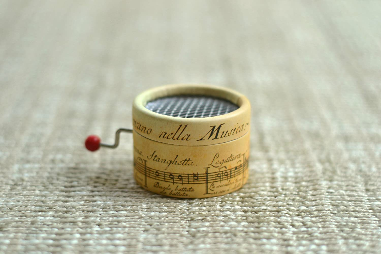 Caja de música * La Vie en Rose * con mecanismo musical de manivela. Estampado de pentagrama antiguo.: Amazon.es: Handmade