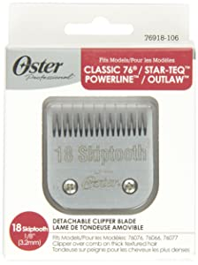 """Oster Professional 76918-106 Replacement Blade for Classic 76/Star-Teq/Power-Teq Clippers, Size# 18 Skiptooth 1/8"""" (3.2mm)"""