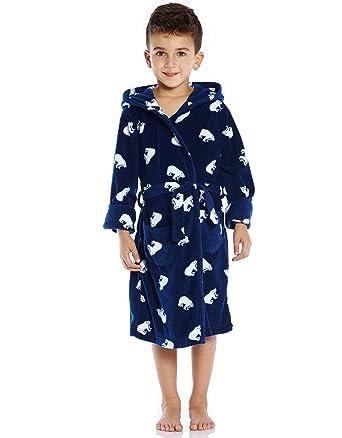 Amazon.com  Leveret Kids Robe Boys Hooded Fleece Sleep Robe Bathrobe ... dcfeae792