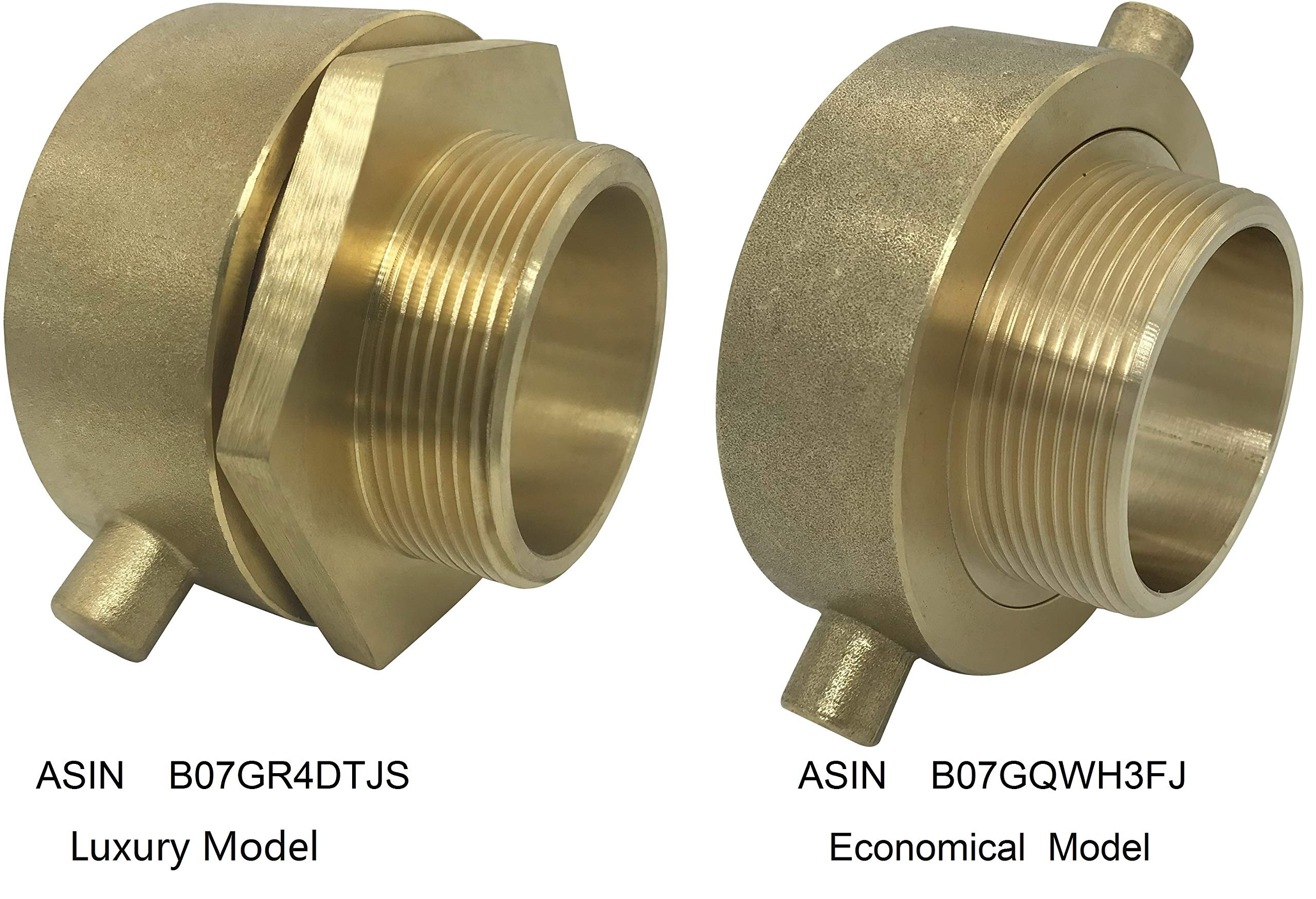 Happy Tree Brass Fire Hose Hydrant Adapter Male Swivel Adapter with Pin Lug 2-1/2'' NH/NST Female x 2'' NPT Male Brass Fire Equipment