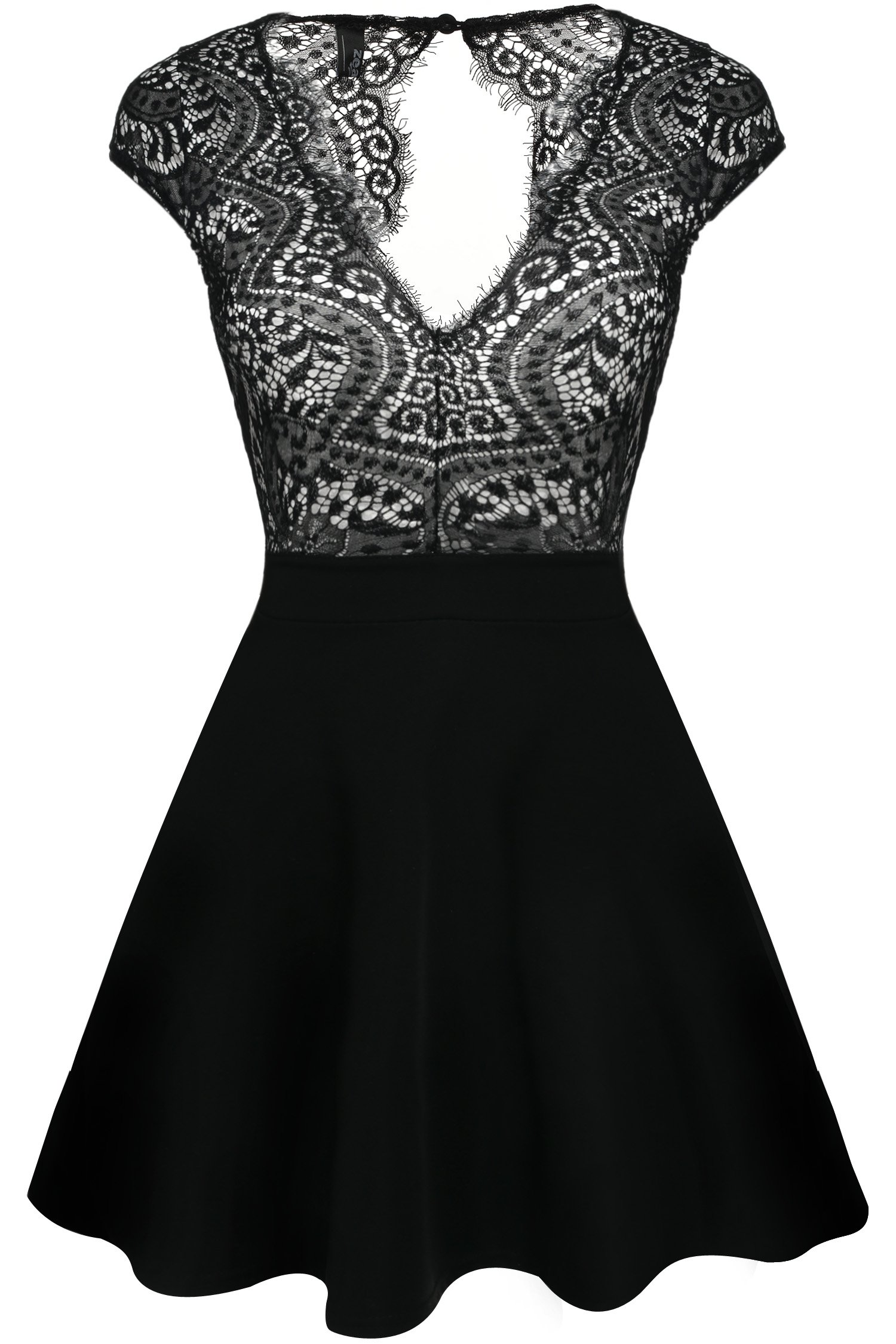Zeagoo Women's V Neck Lace Open Back Nude Illusion Skater Cocktail Party Dress Black Small by Zeagoo (Image #2)
