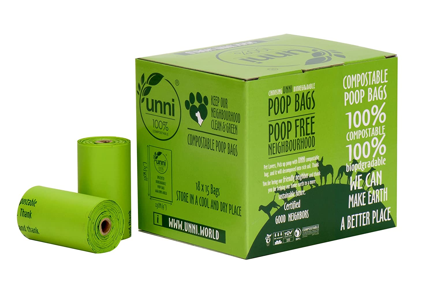 UNNI 100% Compostable Dog Poop Bags, Extra Thick Pet Waste Bags, 270 Count, 18 Refill Rolls, 9x13 Inches, Earth Friendly Highest ASTM D6400, US BPI ...
