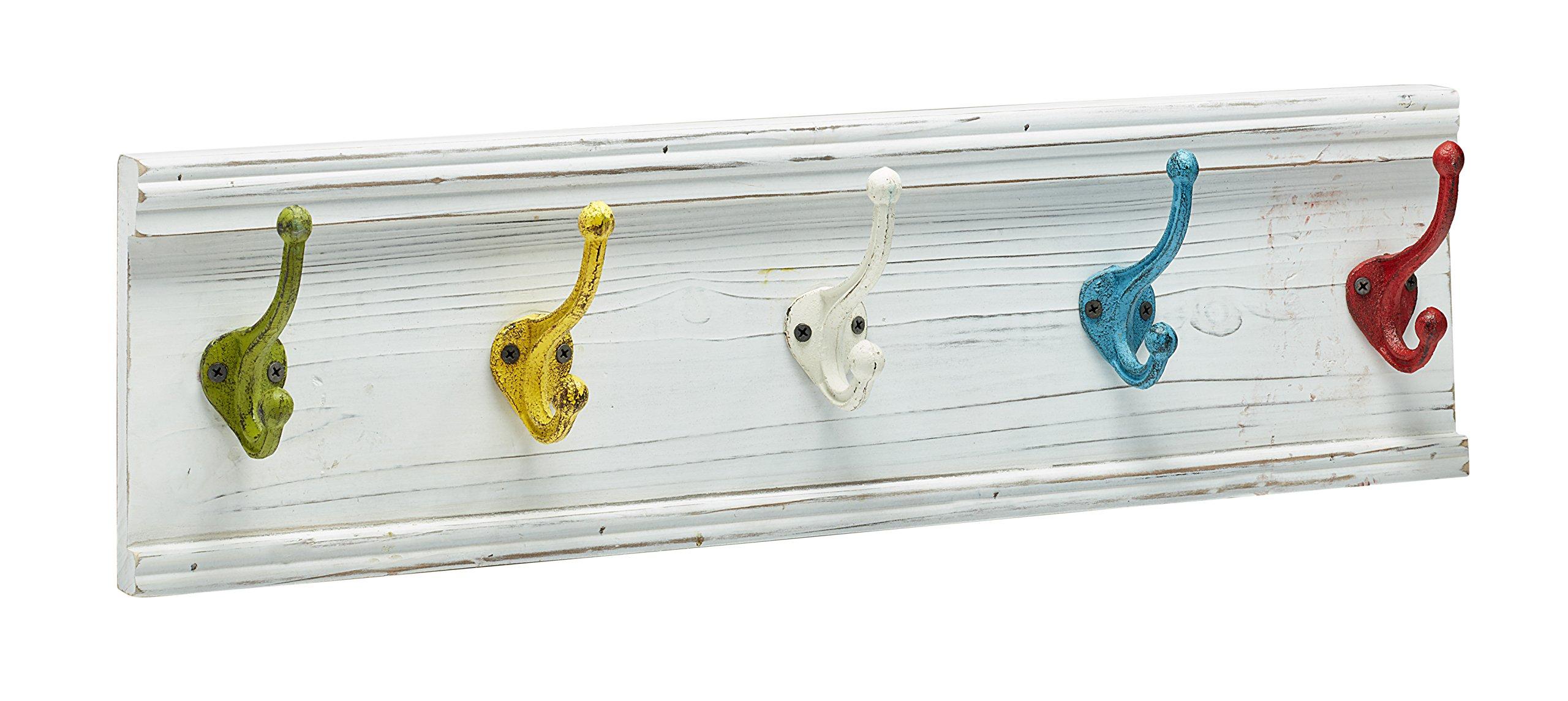 AdirHome Coat Hooks - Hat Hooks - Towel Hooks (Colorful Classroom-White)