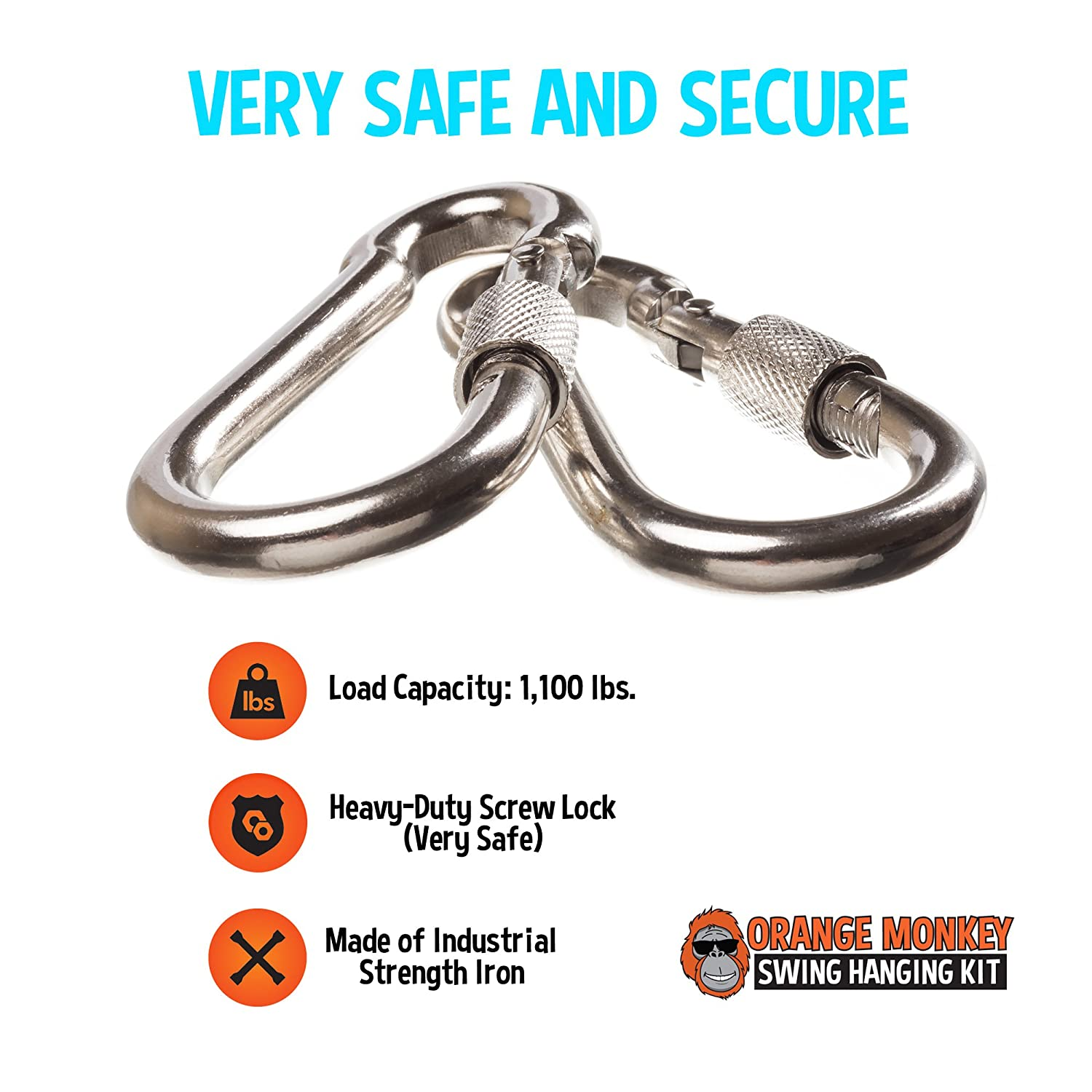 Swing Straps | Tree Swing Hanging Kit Connects To Any Swing | (2) 5' Orange Tree Swing Straps With Safety Locking Carabiners | Swing 360 Degrees (Swivel) | SGA Certified | No Tools Required Orange Monkey Outdoors