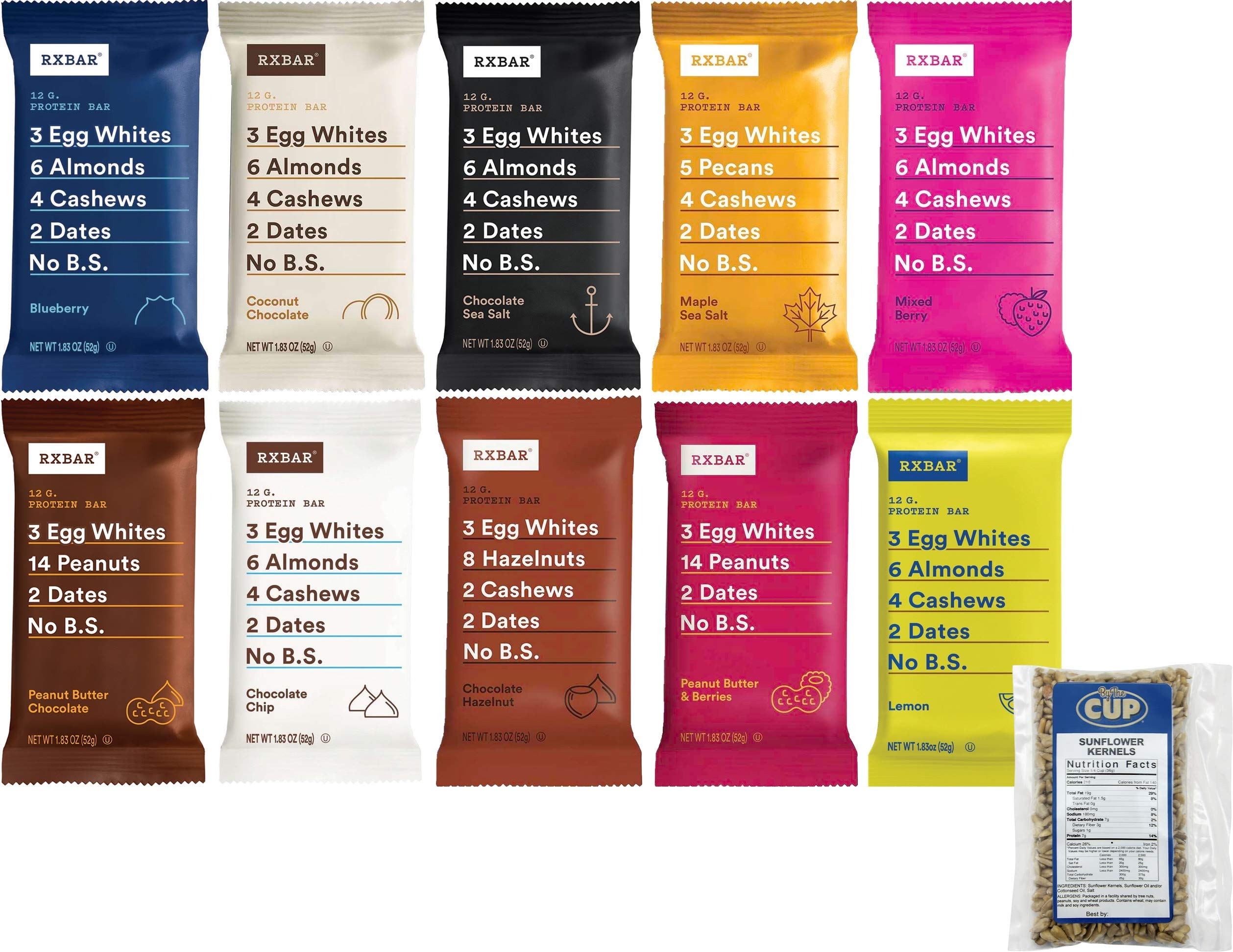 RXBAR No B.S. Protein Bar 10 Flavor Variety Pack, 1 Bar of Each Flavor with By The Cup Sunflower Kernels by By The Cup
