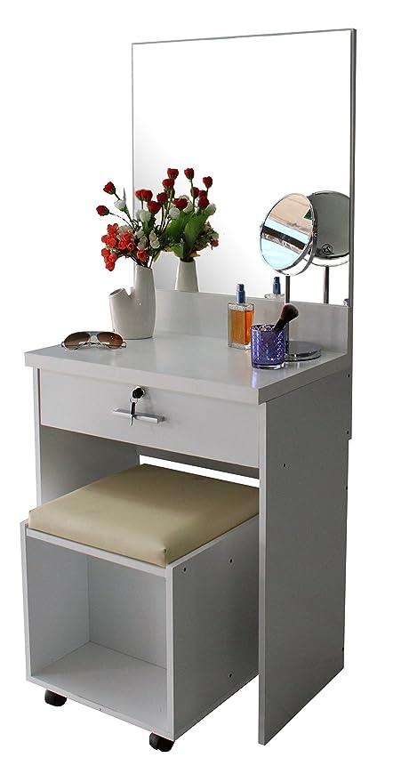 Mueble tocador con espejo, cerradura con llave, banco acolchado y ...
