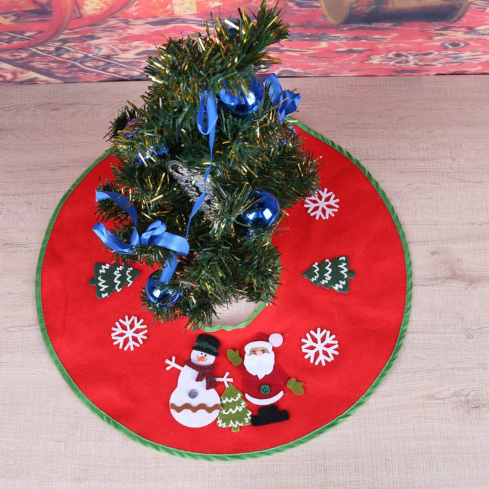 Demiawaking 18 inch Red Christmas Tree Skirt Xmas Tree Skirt Base Cover Decorations