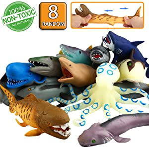 ValeforToy Ocean Sea Animal,8 Inch Rubber Bath Toy Set(8 Pack Random), Food Grade Material TPR Super Stretches, Some Kinds Can Change Colour, Floating Bathtub Toy Party Shark Octopus Figure