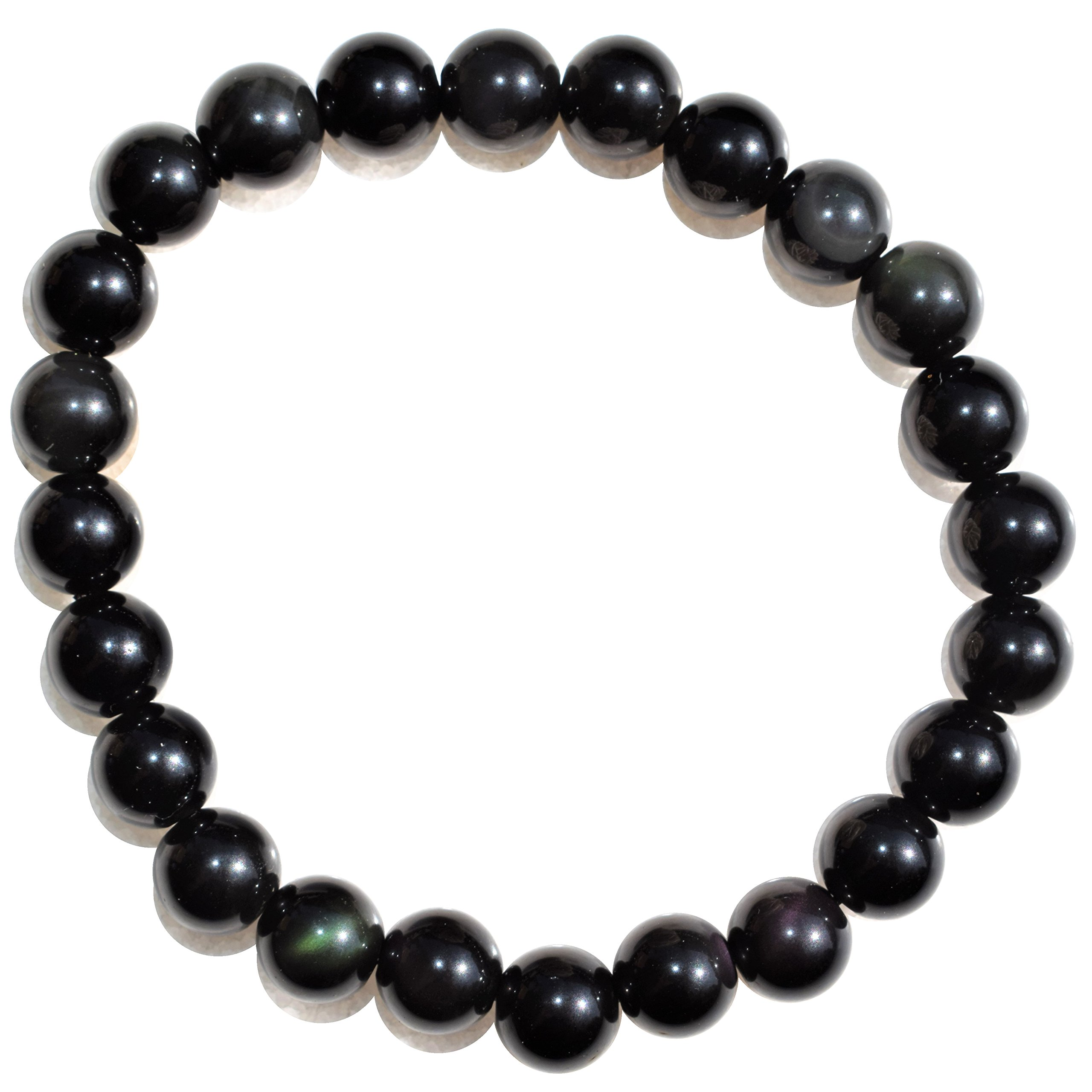 CHARGED Premium 7'' Gold Sheen Rainbow Obsidian Crystal 8mm Bead Bracelet Tumble Stretchy by ZENERGY GEMS