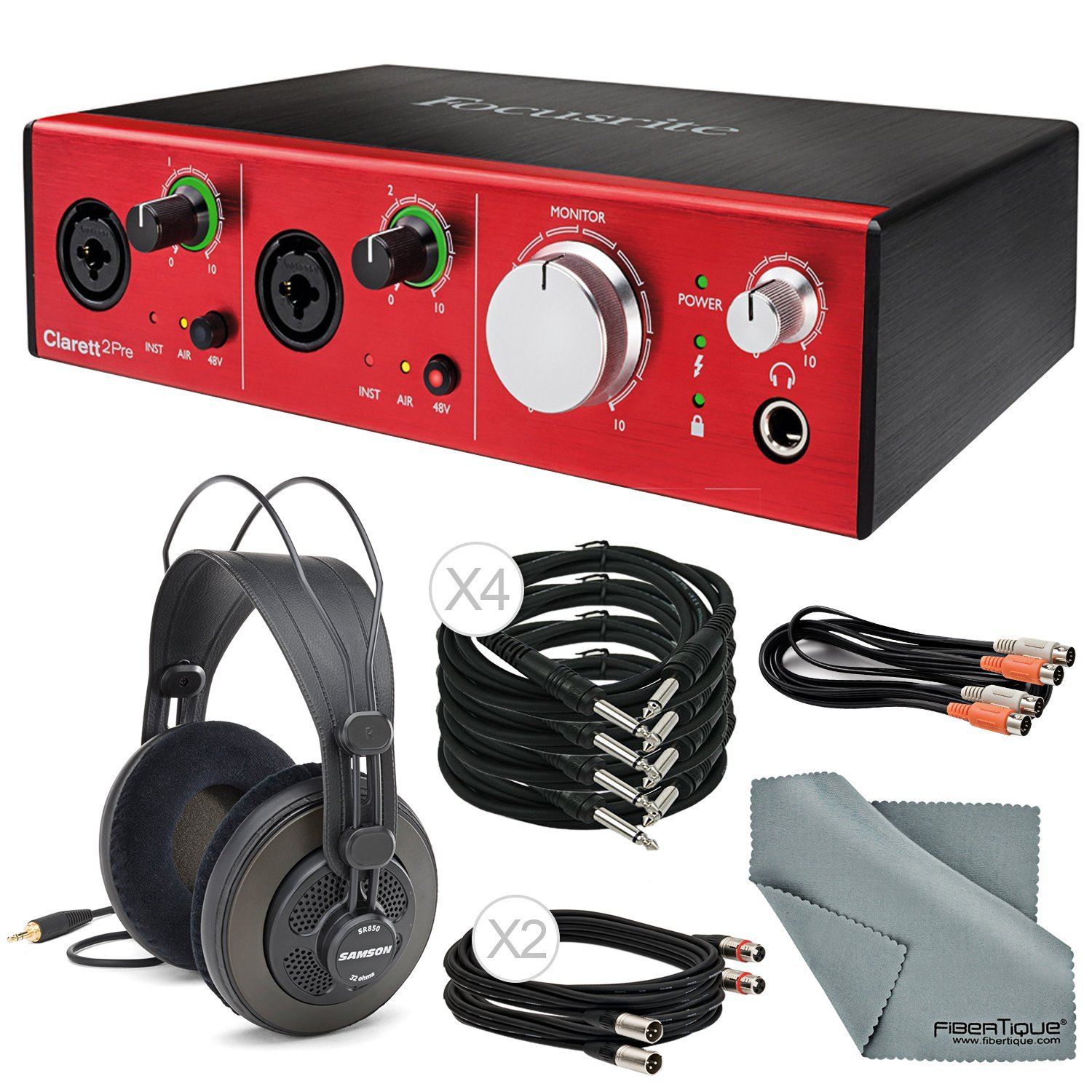 Focusrite Clarett 2Pre - Thunderbolt Audio Interface Deluxe Bundle with 2x XLR Cable +MIDI to 2 MIDI (Dual) Cable + 4 x 1/4 Inch Cable + Samson Studio Headphones + FiberTique Cleaning cloth