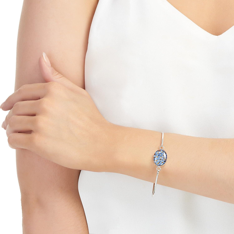 Bracelet Femme Argent 925 Vraies Fleurs en R/ésine Shrieking Violet