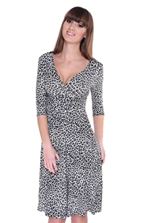 Elegant Leo Look Kleid Leopard Zebra Gr. XS S M L XL XXL XXXL 4XL ...