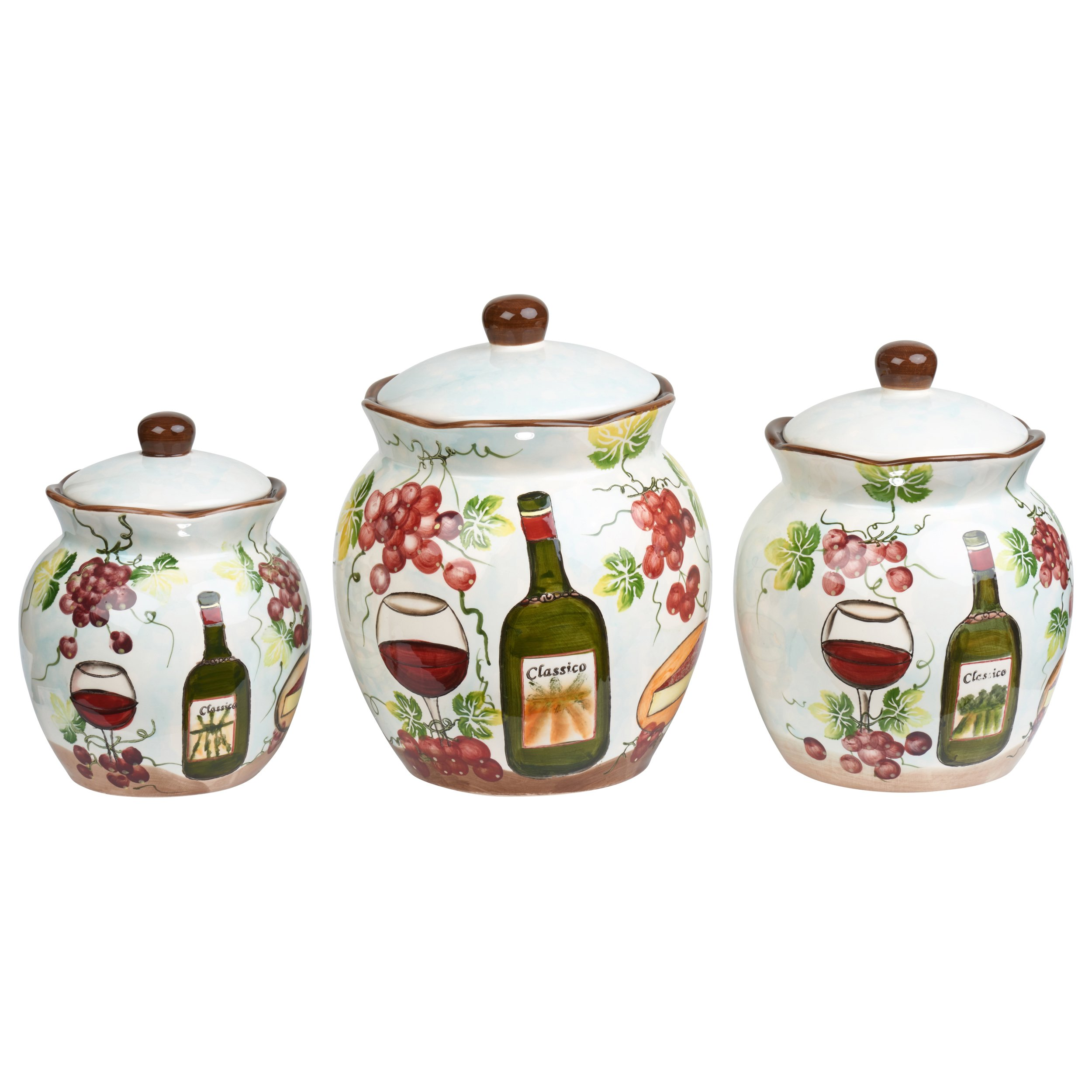 Lorren Home Trends P2069 Purple Grape Ceramic 3 Piece Deluxe Canister Set