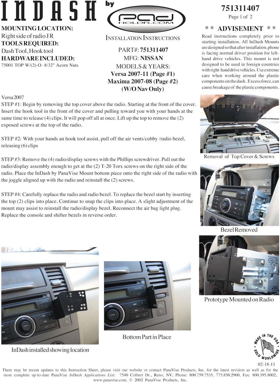 Padholdr Utility Series Premium Locking Tablet Dash Kit for 07-12 Nissan Maxima without Navigation and Versa