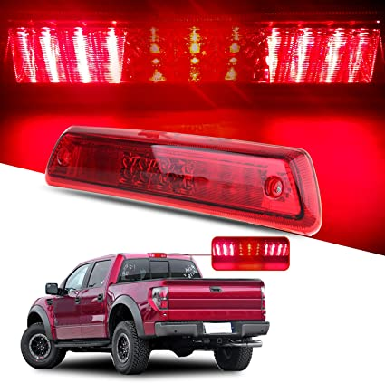 Red High Mount Stop Lights Replacement fit for 2009-2014 Replacement fit ford F150 Full Red Lens LED 3RD Third Brake Cargo Rear Tail Lights