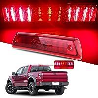 cciyu Brake Cargo Rear Tail Lights LED 3RD Third Lights Replacement fit for 2009-2014 Replacement fit ford F150 Full Red Lens