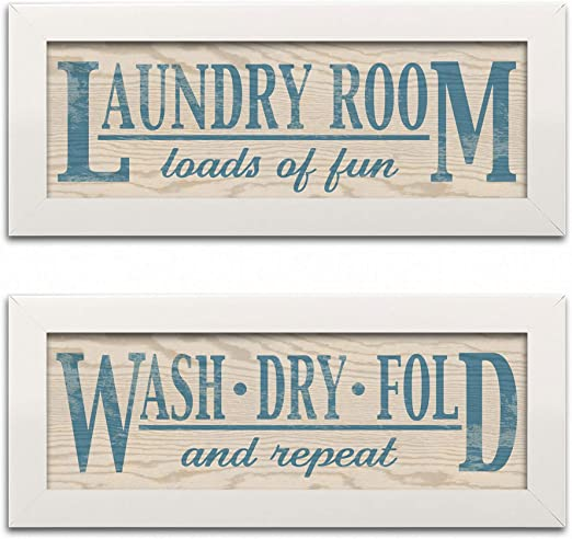 Amazon Com Laundry Room Loads Of Fun Wash Dry Fold And Repeat Two 18x6 White Framed Prints Posters Prints