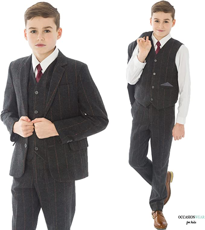 Party Outfit Page Boy Boys Brown Suit Blazer Vivaki 5pc Brown Check Boys Tweed Suit Boys Wedding