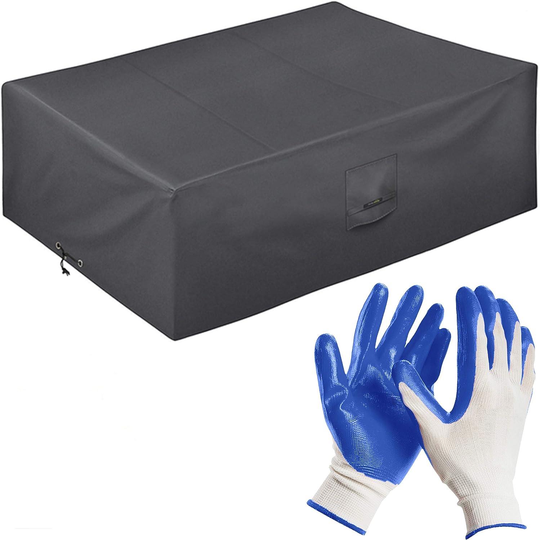 Funda Protectora para Muebles de jardín 200 * 160 * 80 cm-recubierta de PVC-Impermeable/Resistente a los Rayos UV/Impermeable-con Aberturas de ventilación-Bonus: Guantes de jardinería