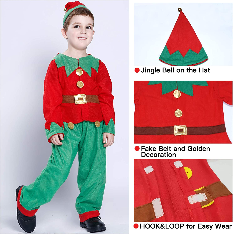 Amazon.com: EraSpooky - Disfraz de elfo de Papá Noel para ...