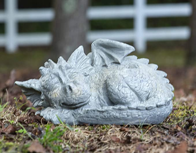 Besti Decorative Outdoor Dragon Garden Statue - Cold Cast Ceramic Statue   Lawn and Yard Decoration   Weather-Resistant Finish (Facing Left)
