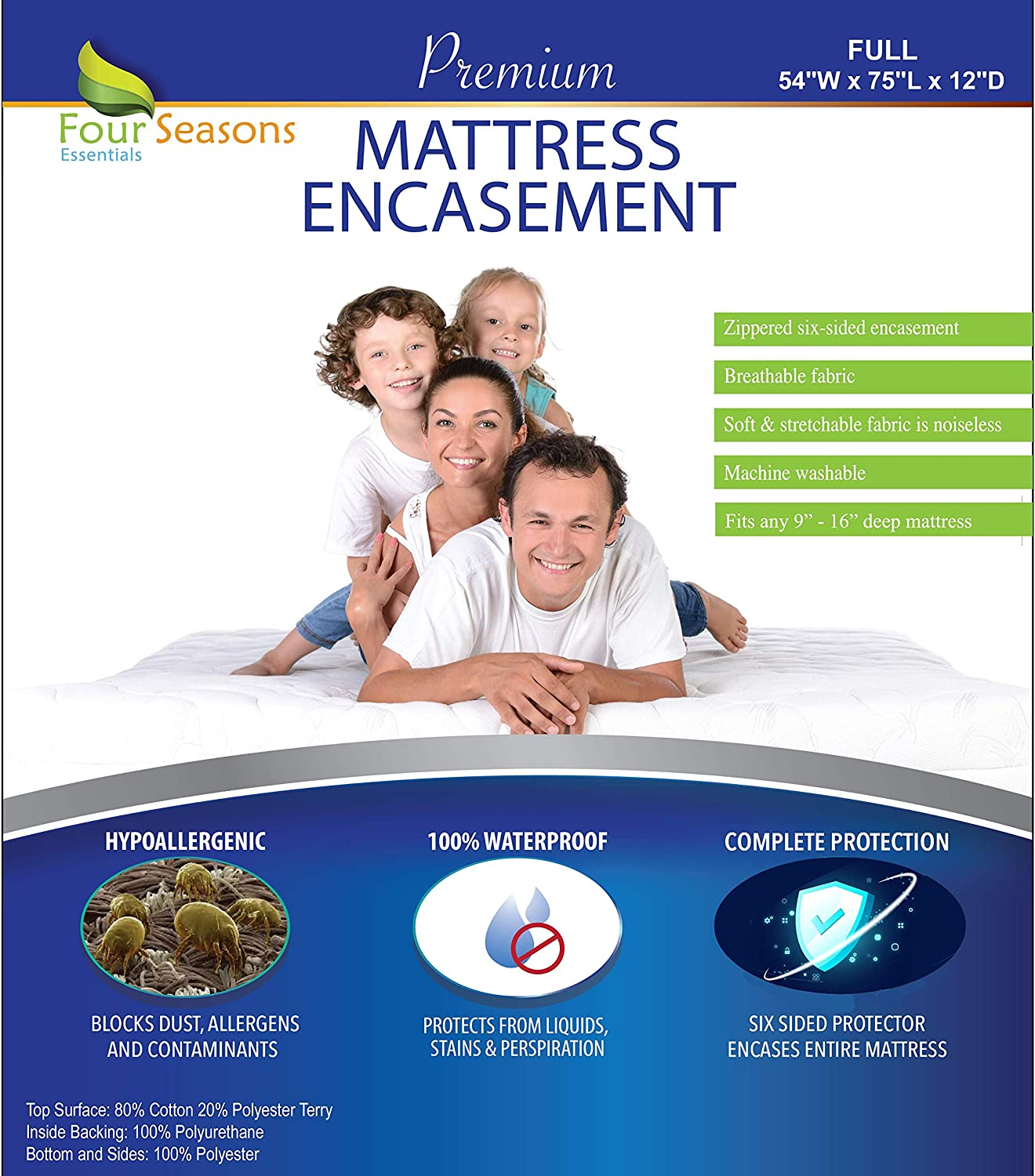 Four Seasons Essentials Full Size Zippered Mattress Protector - Waterproof Mattress Cover - Hypoallergenic Allergy Proof Bed Encasement - Deep Pocket Cotton Terry Top