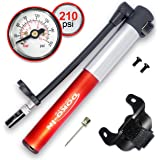 DOKO-IN Mini Bike Pump With Gauge , Frame Mount Bicycle Pump With Flexible Hose , Presta Schrader Compatible Tire Bike Pump , 210 PSI Capacity , 1 Year Warranty