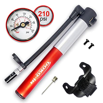 Bike Pump with Gauge Fits Presta and Schrader Mini Bicycle Tire Pump for Road