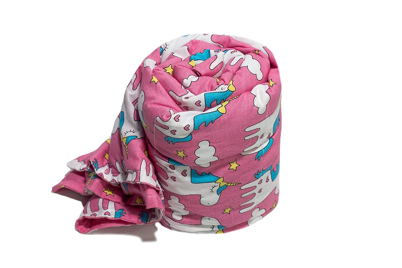 TherapieDecke - Einhörner Gewichtsdecke - Schwere Decke für Kinder Jugendliche mit Schlafproblemen und Funktionsstörungen, Größe  90x120 cm, 2 kg