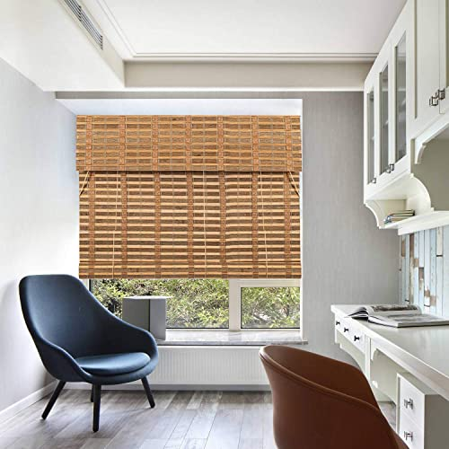 TJ Global Bamboo Roll Up Window Blind Sun Shade, Light Filtering Roller Shades with Valance Caramel Toffee, 48 x 64