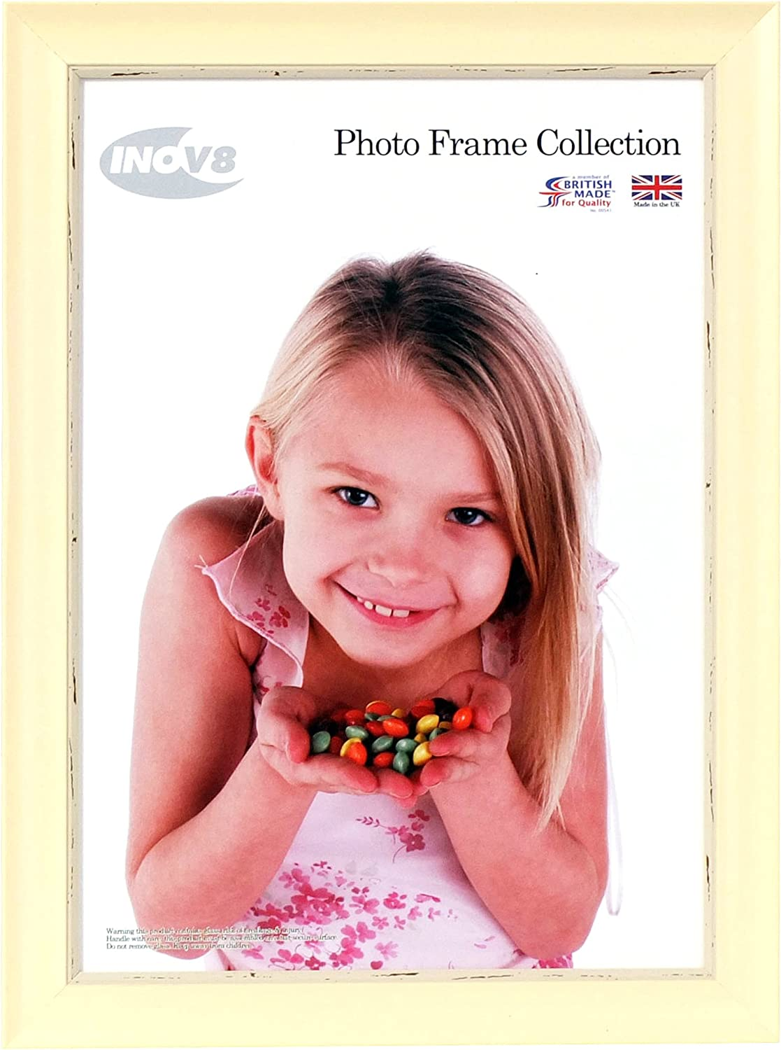 White Wash Inov8 British Made Traditional Picture//Photo Frame 6x6-Inch Small Photo Frame